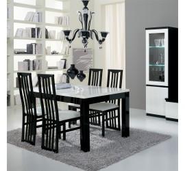 CX 2 Sedie in faggio laccato Nero lucido, seduta rivestita in ecopelle bianca, 48 x 45 cm