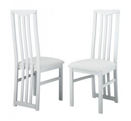 CX 2 Sedie in faggio laccato Bianco lucido, seduta rivestita in ecopelle bianca, 48 x 45 cm