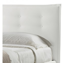 Letto Matrimoniale con Rete Talia Basic in Ecopelle Bianco con bottoni, 160x190 cm