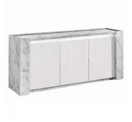 Contromobile Buffet Vittoria Marmo Laccato Lucido 3 Ante, 195 x 50 x h 85 cm
