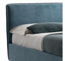 Letto Matrimoniale Febe Basic in Tessuto Blu con Rete, 160x190 cm