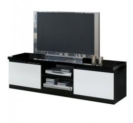 Mobile TV nero ideale per televisori fino a 65 pollici. Elevato spessore del top. Foro passacavi 50 mm nel vano a vista.