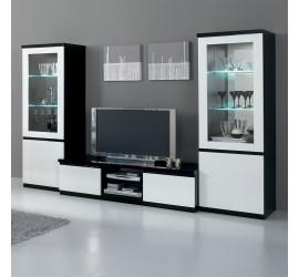 Roma Mobile Porta TV Nero e Bianco Laccato Lucido, 150 x 50 x h45 cm